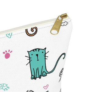 Cute Cat Cosmetic Bag for Cat Ladies Decorated with Colorful Cats