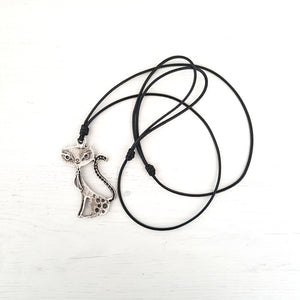 Cat Jewelry, Cat Necklace Featuring a Silver Finished Cat Pendant on a Leather Cord