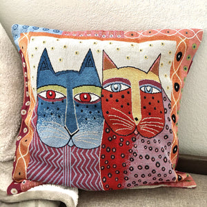 Throw Pillows With Cats On Them, Embroidered Cat Pillow