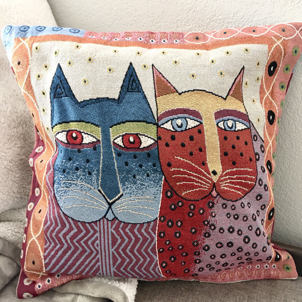 cat Throw Pillow Featuring Two Embroidered Cats