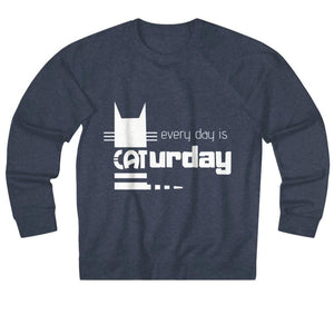 Men's Cat Sweater Featuring The Phrase Every Day Is Caturday Printed On The Front
