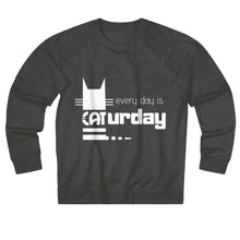 Load image into Gallery viewer, Cat Themed Apparel and Accessories, Funny Cat Lover Sweater With The Words Every Day Is Caturday Printed On The Front