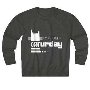 Cat Themed Apparel and Accessories, Funny Cat Lover Sweater With The Words Every Day Is Caturday Printed On The Front