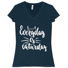 Load image into Gallery viewer, Funny Cat Shirt, Everyday Is Caturday T-Shirt Made from a Soft 100% Cotton Fabric