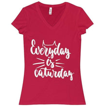 Load image into Gallery viewer, Everyday Is Caturday T-Shirt In Vibrant Red Made from 100% Cotton