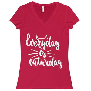 Everyday Is Caturday T-Shirt In Vibrant Red Made from 100% Cotton