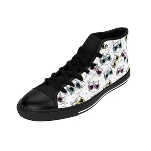 Cute Cat Themed Shoes, One of a Kind Cat Sneakers Featuring Colorful Cats with Glasses