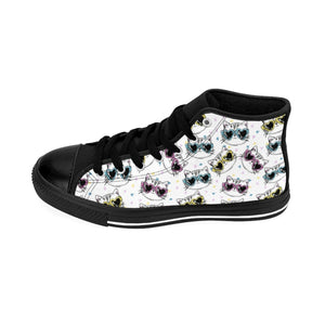 Cute Cat Sneakers, Cat Themed Shoes Printed with Cats Wearing Colorful Glasses