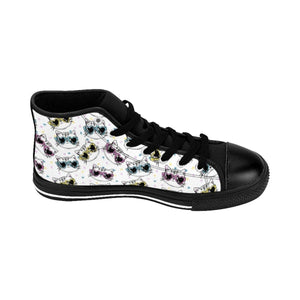 Cat Themed Shoes for Cat Ladies, Fancy Cat Sneakers Printed with Colorful Cats Wearing Glasses