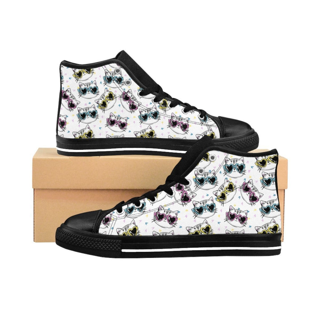 Cat Shoes, Fancy Cat Sneakers with a Unique Cats with Glasses Print