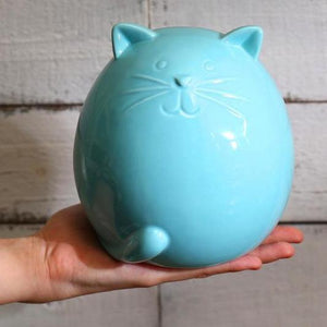 Ceramic Cat Figurine with a Glossy Blue Finish Perfect as a Housewarming Gift for a Cat Lover