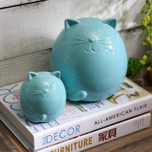 Load image into Gallery viewer, Housewarming Gift Ideas for Cat Lovers, Cat Yard Decorations, Ceramic Cat Figurines with Glossy Blue Finish