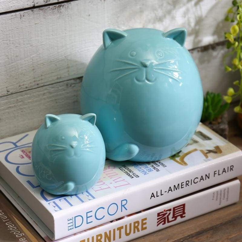 Housewarming Gift Ideas for Cat Lovers, Cat Yard Decorations, Ceramic Cat Figurines with Glossy Blue Finish
