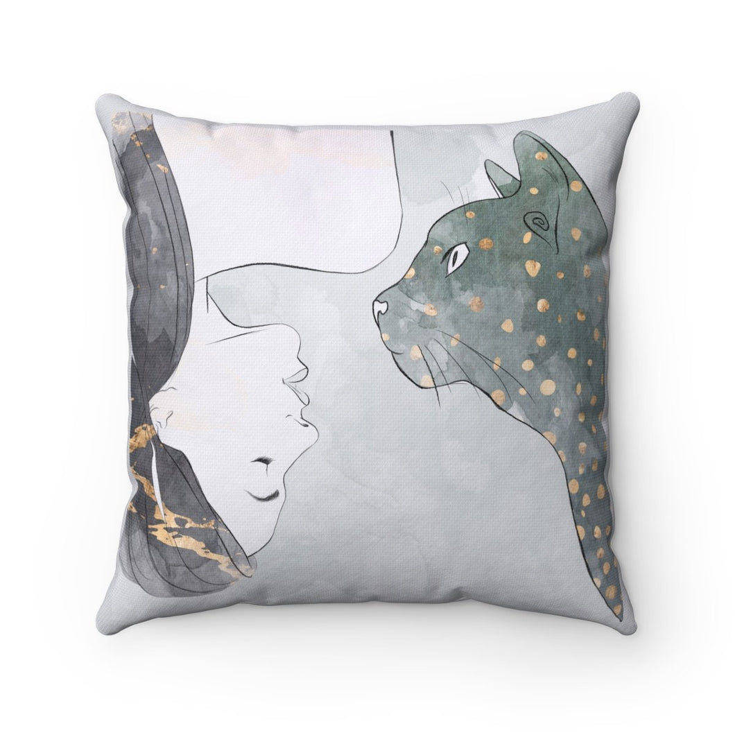 Cat Themed Bedding, Decorative Cat Pillow Featuring a One of a Kind Print of a Woman and a Tabby Cat