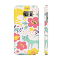 Load image into Gallery viewer, Cat Design Gifts for Cat Lovers, Floral Cat Phone Case with a One of a Kind Cat Themed Design