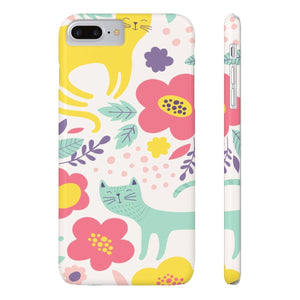Unique Gifts for Cat Ladies, Floral Cat Phone Case Featuring a Colorful Cat Print