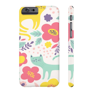 Gifts for Cat Lovers, Unique Cat Phone Case Printed with Cats and Flowers