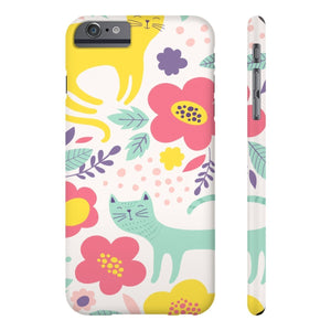 Cute Things for Cat Lovers, Cat Phone Case Printed with Colorful Cats and Flowers