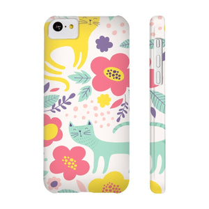Phone Case with Cats, Cat iPhone Case Featuring a One of a Kind Floral Pattern with Cats