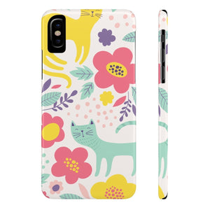 Cat Design Gifts, Cute Cat Phone Case Featuring a Unique Floral Pattern and Cat Print