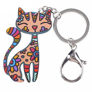 Cute Kitty Cat Keychain with a Metal Clasp