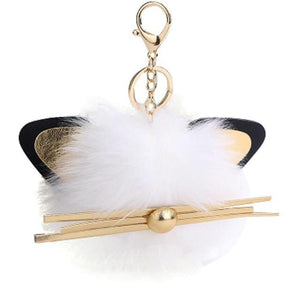 Cute Things for Cat Lovers, Cute Cat Keychain Made of Faux White Fur