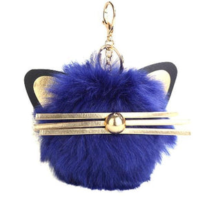 Cat Themed Accessories for Cat Lovers, Fur Ball Keychain Decorated with Pointy Cat Ears and Whiskers