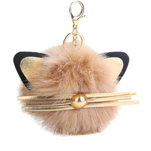 Cute Cat Keychain Made from Beige Faux Fur and Decorated with a Set of Cat Ears and Whiskers