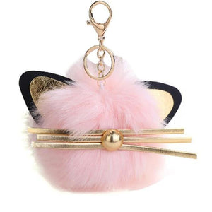 Cat Gifts for Her, Fur Ball Keychain Made of Pink Faux Fur and Decorated with Cat Ears and Whiskers