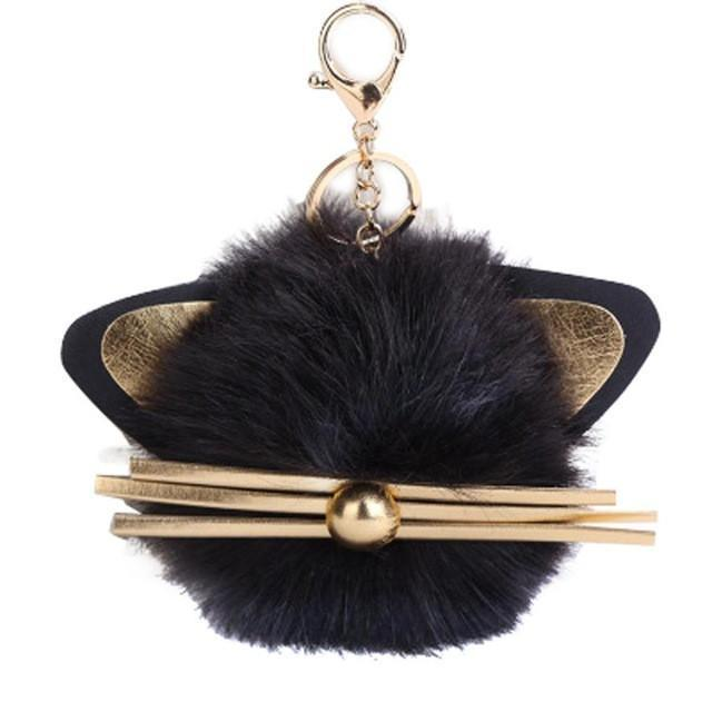 Fluffy Cat Key Chain, Fur Ball Key Chain Featuring a Pair of Pointy Cat Ears and Whiskers