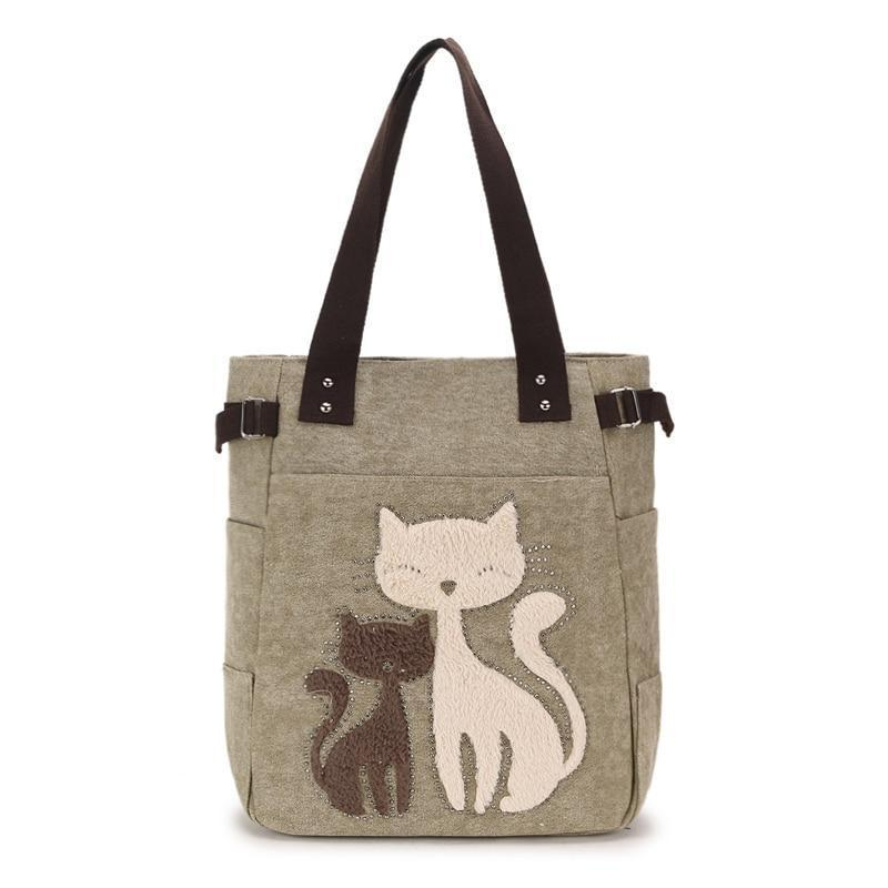 Cat Themed Purse Featuring Two Cats with Fuzzy Coats Embroidered On the Front