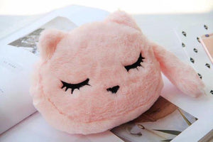 Cat Gifts for Cat Lovers, Cute Cat Makeup Bag Made of Soft Plush Fabric and Decorated with an Embroidered Cat Face