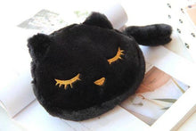 Load image into Gallery viewer, Cat Things for Cat Lovers, Black Cat Makeup Bag Made of Soft Plush Fabric and Decorated with an Embroidered Cat Face