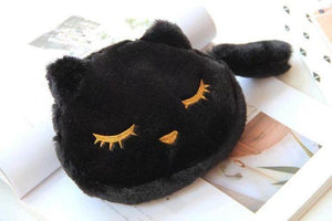 Cat Things for Cat Lovers, Black Cat Makeup Bag Made of Soft Plush Fabric and Decorated with an Embroidered Cat Face