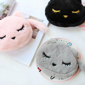 Cute Cat Gifts, Fluffy Kitten Makeup Bag Made from Super Soft Fabric and Decorated with Embroidered Cat Face