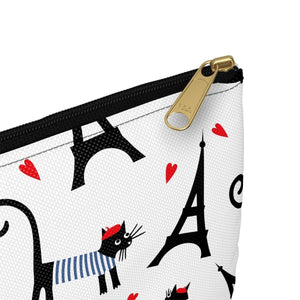 Unique Cat Things for Cat Lovers, Cute Cat Makeup Bag with a French-Themed Black Cat Print