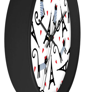 Cat Home Decor, Cat Wall Clock with a Unique French Inspired Black Cat Print
