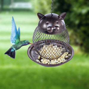 Cat Yard Decorations, Cat Bird Feeder with a Netted Design