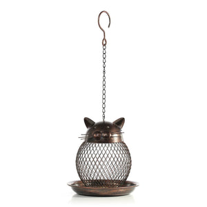 Cat Patio Decor, Cat Bird Feeder with a Netted Design Made of Iron