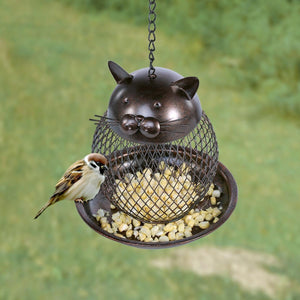 Cat Garden Decor, Cat Bird Feeder Made from Iron with a Warm Chocolate Finish