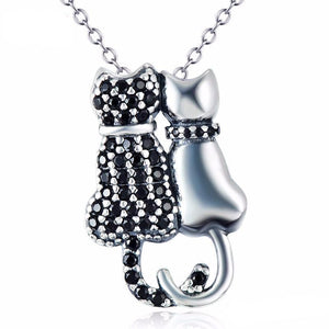 Black Cat Jewelry, Cat Necklace Featuring a Sterling Silver Cat and a Cat Encrusted with Black Crystals