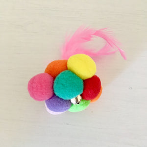 Fun Cat Toy Made of Felt Balls and Feathers