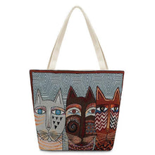 Load image into Gallery viewer, Cat Handbag, Geometric Cats Canvas Tote