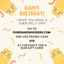 Load image into Gallery viewer, Cat Themed Birthday Gifts, $100 Gift Card for Cat Lovers
