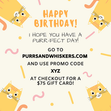 Load image into Gallery viewer, Cat Themed Birthday Gifts, $75 Gift Card for Cat Lovers
