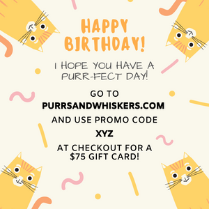 Cat Themed Birthday Gifts, $75 Gift Card for Cat Lovers