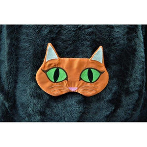 Cute cat sleep mask handmade from soft satin fabric, perfect as a gift for cat lovers