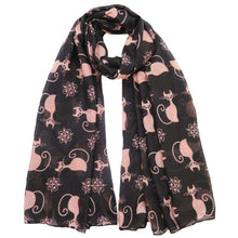 Load image into Gallery viewer, Scarves with Cats On Them, Cat Scarf Featuring Pink Cats Printed On a Soft Black Fabric