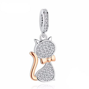 Good Birthday Gifts for Cat Lovers, Cat Pendant Encrusted with Shiny White Crystals