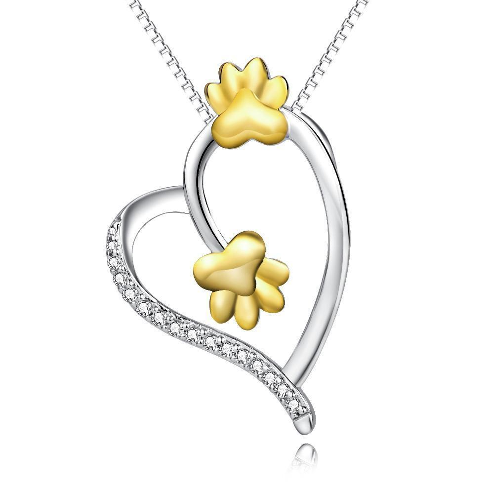 Birthday Presents for Cat Lovers, Paw Print Necklace Made of Sterling Silver and Featuring a Heart-Shaped Pedant and a Pair of Two Gold-Tone Paw Prints